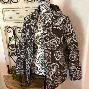 Burton paisley print coat many pockets & zippers